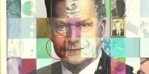 """Finlandiyada rəssam azərbaycanlı qaçqının yanağını prezidentin yanağına """"yapışdırdı"""" - FOTO"""