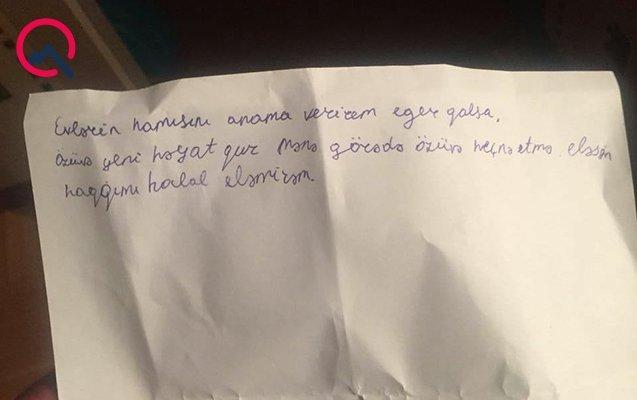 """İntihar edən şagirdin vida məktubu: """"Ana, bunu etsən, HAQQIMI HALAL ETMİRƏM..."""" - FOTOLAR"""